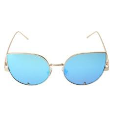 Bảng Giá Female Cat Eye Trendy Small Diamond Sunglasses (Gold Frame Icy Blue Lens) – intl  crystalawaking