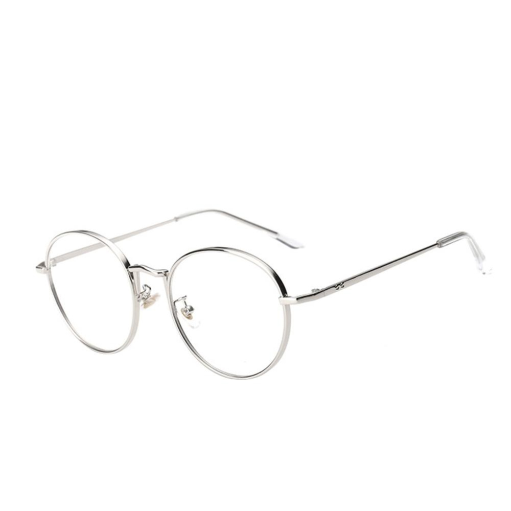 Giá Female Common Glasses Flat Circle Round Metal Sunglasses(Silver) – intl