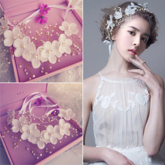 Flowers Pearl Garland Bridal Wedding Crown Floral Hair Headdress Headband