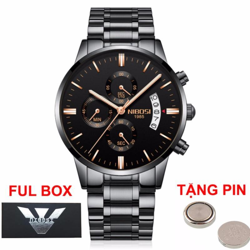 Nơi bán (Giá Cực Rẻ) Đồng hồ nam doanh nhân Nibosi chạy full 6 kim full box - tặng kèm pin đồng hồ