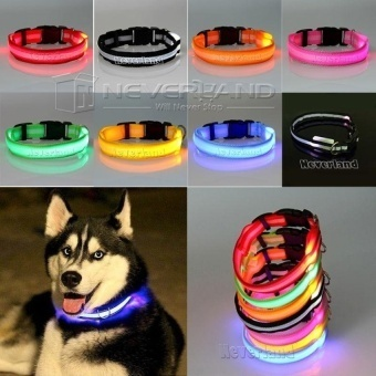 Glow LED Dog Pet Cat Flashing Light Up Nylon Collar NightSafetyCollars Supplies Dropship Pink - intl