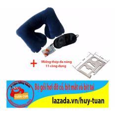 Gối hơi đỡ cổ du lich gồm 1 gối, 1 bịt mắt, 2 bịt tai + Free miếng thép đa năng 11 công dụng
