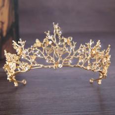 Vương Miện vàng Baroque Phụ Kiện Tóc Cưới Tiara Cô Dâu Thái Phụ Kiện Tóc Cô Dâu Phụ Kiện Cưới Tóc Jewelr-quốc tế