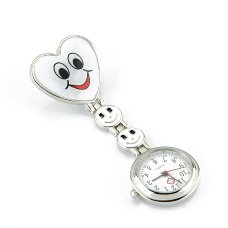 Heart Quartz Movement Clip Nurse Brooch Fob Tunic Watch Smiley Face White - intl bán chạy