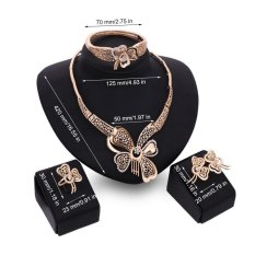 High Quality Store New Women Crystal Butterfly Pendant Necklace Bracelet Ring Earrings Wedding Jewelry Set Golden – intl
