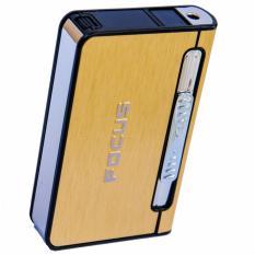 Hộp đựng thuốc lá kiêm bật lửa khò F641 (Vàng)