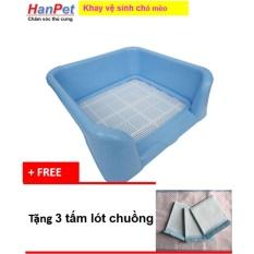 Khay vệ sinh dạng bức tường cho chó đực, bằng nhựa cao cấp, có lưới (HoaMy 378) + Tặng 3 tấm tã lót chuồng, sàn xe.