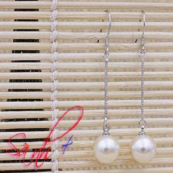 Khuyên tai bạc 925 - ngọc trai dáng dài thời trang