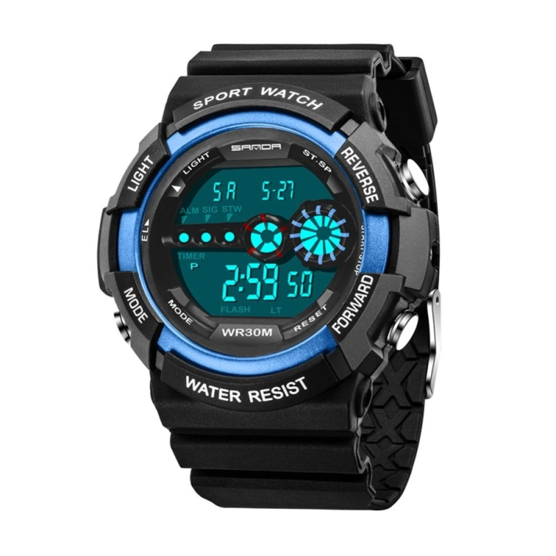 Kids Waterproof Electronic Outdoors Sports Wrist Watch(Blue) - intl bán chạy
