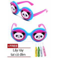 Kính mắt chống nắng thời trang hình gấu trúc cho bé + 1 ngoáy tai có đèn cao cấp