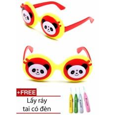 Kính mắt chống nắng thời trang hình gấu trúc cho bé (Đỏ) + 1 ngoáy tai có đèn cao cấp