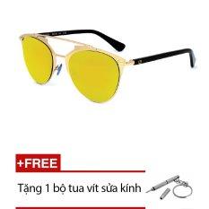 Kính mát Exfash EF5003 C85 (Trắng bạc tròng tráng thủy trắng) + Tặng 1 bộ tua vít sửa kính