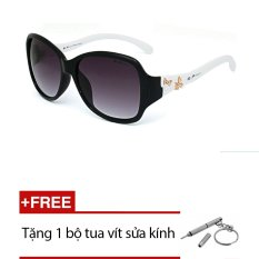 Kính mát Exfash EF5756 956( đen gọng trắng) + Tặng 1 bộ tua vít sửa kính