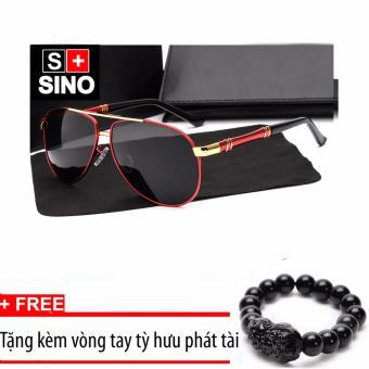 Kính mát nam cao cấp thời trang Sino SN007 (đỏ)+ Tặng kèm vòng tay phong thủy