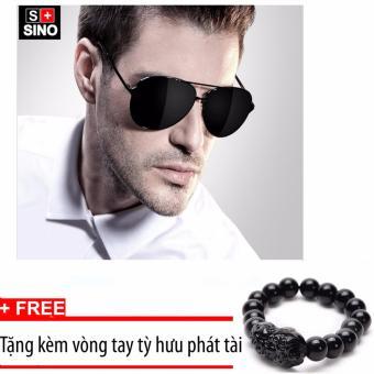 Cửa hàng bán Kính mát nam màu đen Sino SN685+ Tặng kèm vòng tay phong thủy