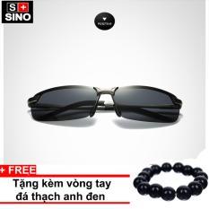 Kính mát nam Sino KM02 cao cấp+ Tặng kèm vòng tay thạch anh đen