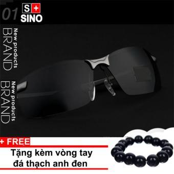 Tư vấn mua Kính mát nam thời trang Sino SN986+ Tặng kèm vòng tay thạch anh đen