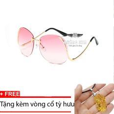 Giá Kính mát nữ cá tính Sino S2017 hồng+Tặng kèm vòng cổ tỳ hưu vàng  Hoàng Kim Digital