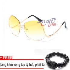 Giá Kính mát nữ cá tính Sino S2017 vàng+Tặng kèm vòng tay thạch anh tỳ hưu đen  Smart Life