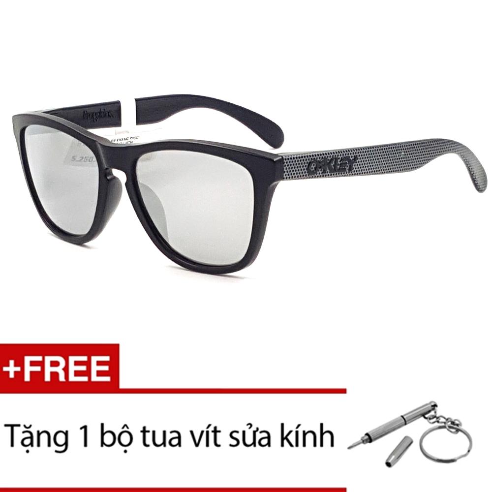 Kính mát Oakley FROGSKINS OO9245 31 (Đen) + Tặng 1 bộ tua vít sửa kính