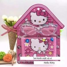 Kính mát tặng kèm ví mèo hồng dễ thương cho bé gái + Tặng 1 băng đô turban nhung cao cấp SYT71