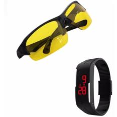 Kính phân cực nhìn xuyên đêm (Vàng) + Tặng Đồng hồ led II thể thao (Đen)