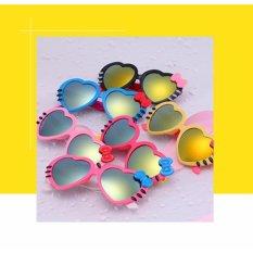 Kính mát trẻ em chống UV hình trái tim (Màu hồng) + Tặng 1 băng đô turban nhung cao cấp