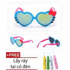 Kính râm chống tia UV hình trái tim cực yêu cho bé + Ngoáy tai có đèn cao cấp