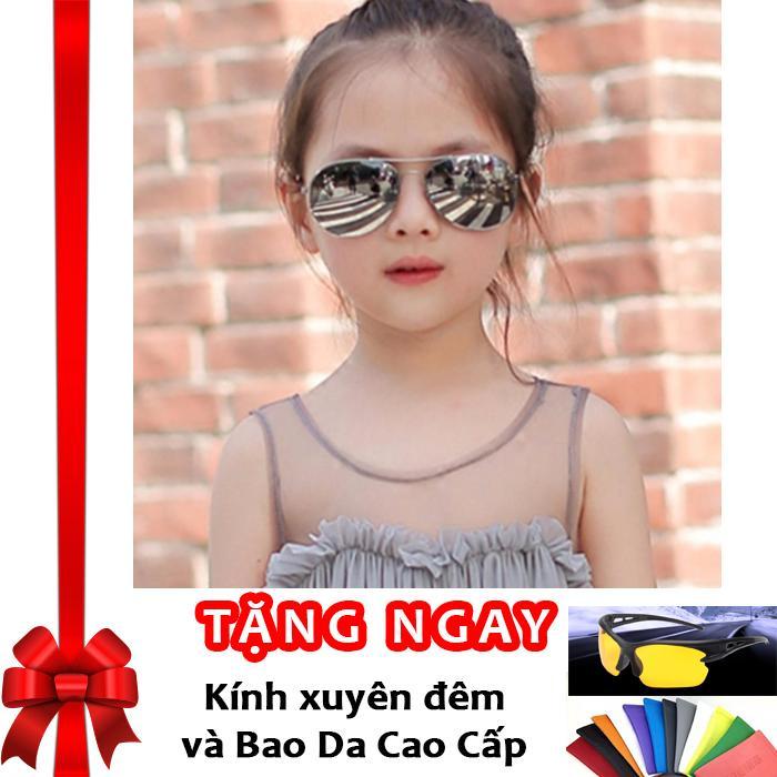 Kính thời trang phản quang cực chống tia UV siêu đáng yêu cho bé Korea Kids 2017 F171 (Sao thủy) + Tặng kính xuyên đêm và bao da cao cấp