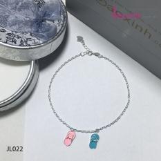 Lắc chân nữ trang sức bạc Ý S925 Bạc Xinh – Đôi dép JL022