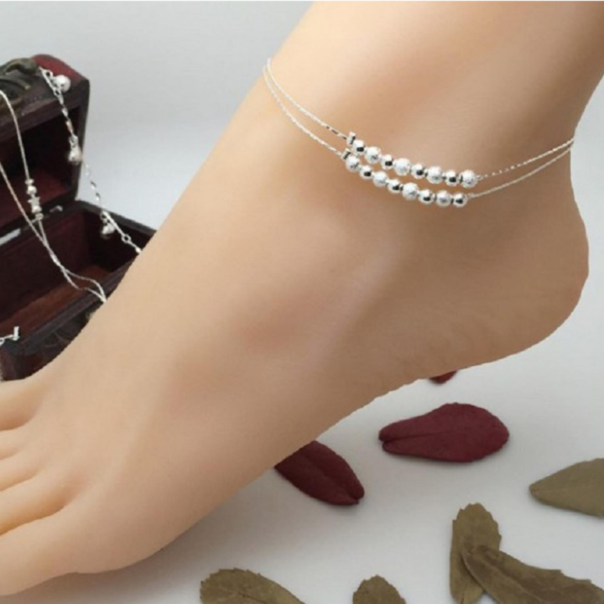 Lắc chân nữ bạc hai vòng hạt châu lấp lánh (Bạc)