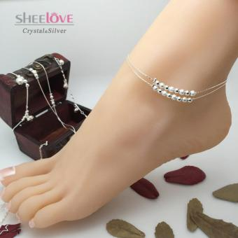 Cửa hàng bán Lắc chân nữ bạc hạt cườm may mắn xinh xắn SPJ-JY002(Bạc)