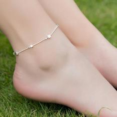Lắc chân nữ bạc hạt vuông đơn giản xinh xắn dễ thương HHN-004(Bạc)