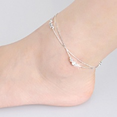 Lắc chân nữ bạc trái tim châu tròn xinh xắn dễ thương HHN-003(Bạc)