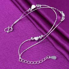 Lắc chân nữ trái tim bạc xinh xắn dễ thương HHN-003(Bạc)