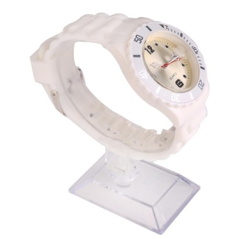 Ladies Neutral Movement Simple Style Silicone Watch White - intl
