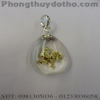 Mặt dây chuyền con giáp Dậu vàng giọt nước màu trắng dài 3cm