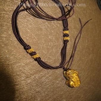 Mặt dây chuyền - Mặt Tỳ hưu đá mắt hổ nâu 3,2 x 1,6 cm