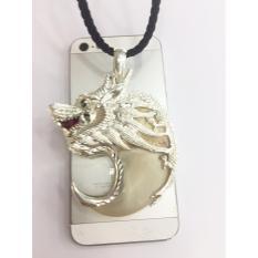 Mặt dây chuyền móng vuốt cọp tự nhiên bọc bạc hình đầu rồng