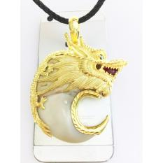 Mặt dây chuyền móng vuốt cọp tự nhiên bọc bạc hình đầu rồng mạ vàng 18k