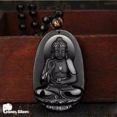 Mặt Dây Chuyền Phong Thủy Phật A Di Đà Chất Liệu Đá Obsidian – Thương Hiệu Ganes Silver