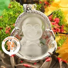 Mặt Dây Chuyền Phật Cười Di Lặc Đá Lưu Ly Trắng Bọc Đế Mạ Bạc