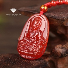 Mặt Dây Chuyền Phật Văn Thù Bồ Tát Đá Mã Não Đỏ Phong Thủy – BẢO TÍN