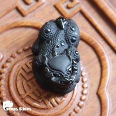 Mặt Dây Chuyền Tỳ Hưu Tà Tịch Đen có vảy Chất Liệu Đá Obsidian Cao Cấp – Trang Sức Ganes Silver