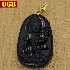 Mặt Phật Bồ tát Phổ hiền 5 cm đá thạch anh đen + móc