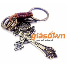 Móc đeo chìa khóa da thật hình thánh giá