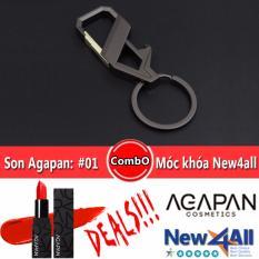 Móc khóa đeo balo New4all hợp kim cao cấp+Son Agapan #01 Pit A Pat (Đỏ cam)