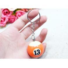 Móc chìa khóa Trái Billiards Số 13 ( Cam Trắng )
