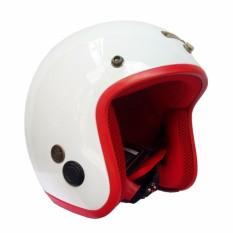 Mũ Bảo Hiểm 3/4 Napoli SH Cao cấp - Tem chuẩn CR (trắng bóng lót đỏ )