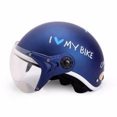 Mũ bảo hiểm KC I Love My Bike cao cấp (Xanh)